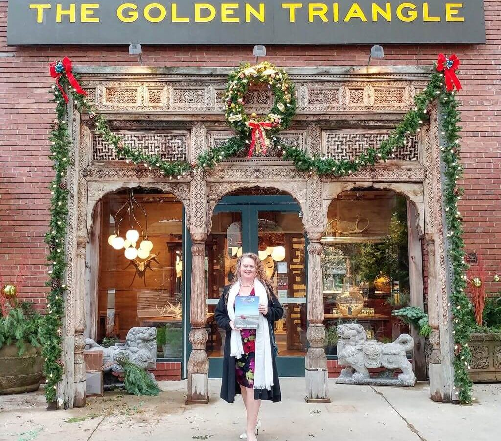 Two Lane Gems Book Signing - Theresa Goodrich in front of The Golden Triangle